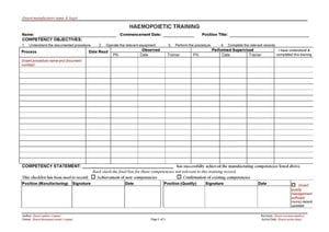 Haemopoietic Training