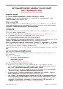 Internal Action Plan and Evacuation Checklist