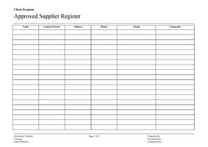 Approved Supplier Register