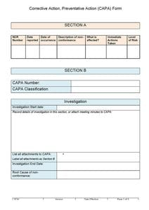 Corrective and Preventative Action Form