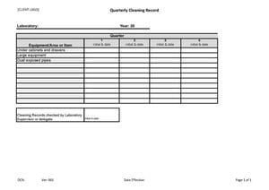 Quarterly Laboratory Cleaning Record