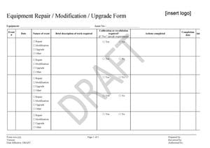 Equipment Repair Modification Upgrade Form