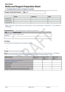 Media and Reagent Preparation Sheet