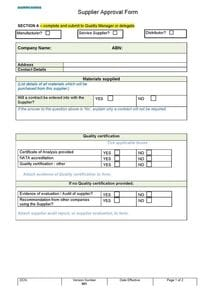 Supplier Approval Form