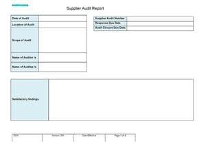 Supplier Audit Report