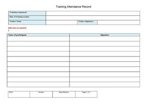 Training Attendance Record