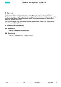 Material Management Procedure