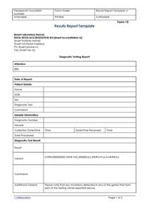 Results Report Template