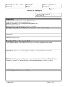 Internal Audit Report Form