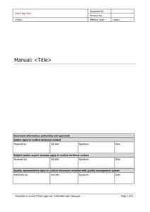Manual master template
