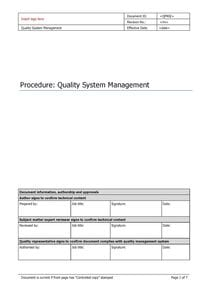 Quality System Management