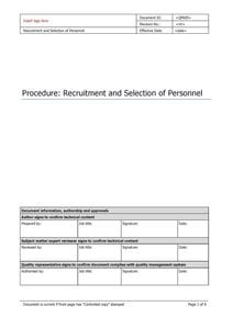 Recruitment and Selection of Personnel
