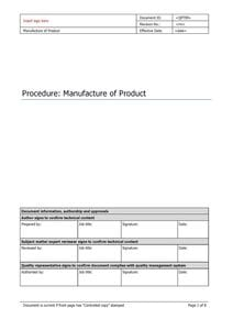 Manufacture of Product