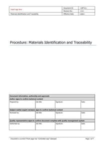 Materials Identification and Traceability