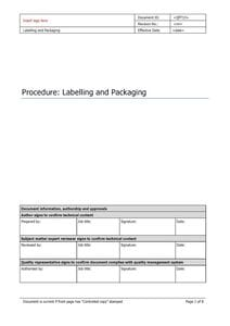 Labelling  and Packaging