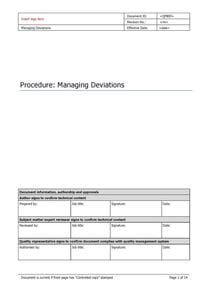 Managing deviations of non-conforming products