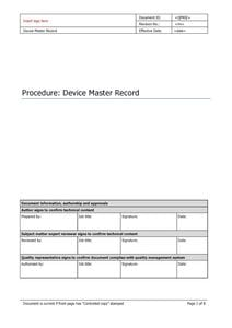 Device Master Record