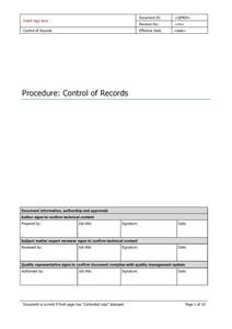 Control of Records
