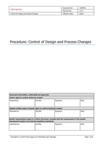 Control of Design and Process Changes