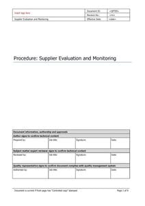 Supplier Evaluation and Monitoring