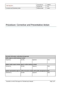 Corrective and Preventative Action
