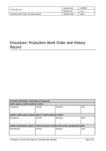 Production Work Order and History record