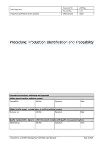 Production Identification and Traceability