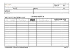 Pest  Treatment and Activity Log