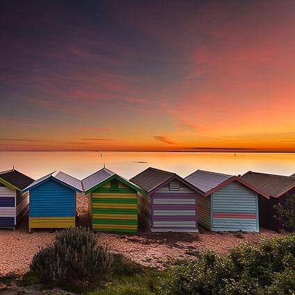 Brighton Beach Sunset - Jarrod Hyde - Stretched Canvas