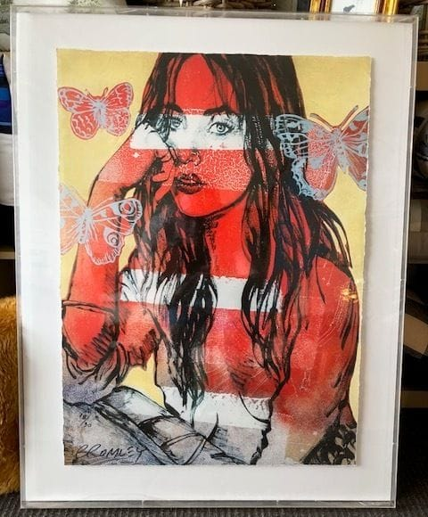 David Bromley Red Nude Butterflies