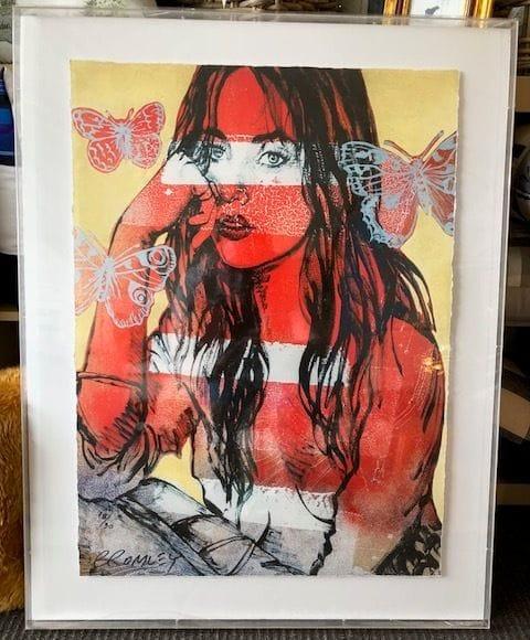 David Bromley Red Nude Butterflies
