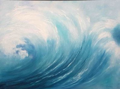Wave - horizontal blue by Imelda Donnelly