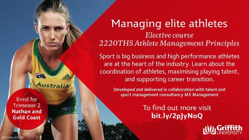 M5 Management collaborates with Griffith University on introducing a new Athlete Management Principles course