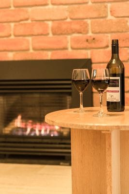 Heater with wine at Macedon Ranges Hotel & Spa