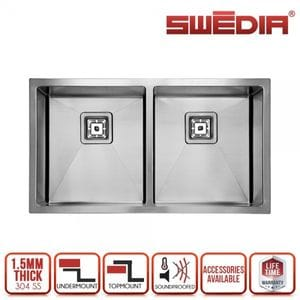 SWEDIA DANTE Kitchen Sink - 800mm Double Bowl - 1.5mm Thick Stainless Steel