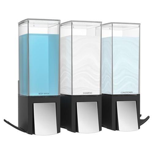 CLEVER Triple Shower Dispenser - Matte Black
