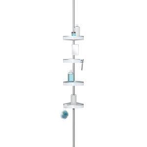 HiRISE 4 Tension Shower Caddy with Mirror - White/Aluminium