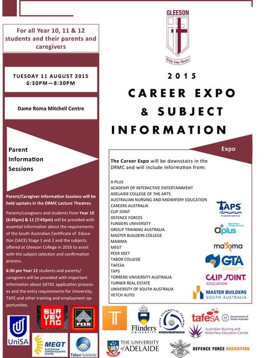 Gleeson Careers Expo & Subject Information Evening 2015