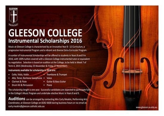 2016 Instrumental Scholarships - APPLY NOW!