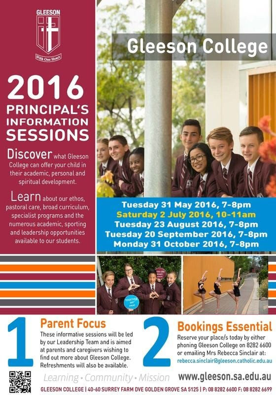 2016 Principal's Information Sessions