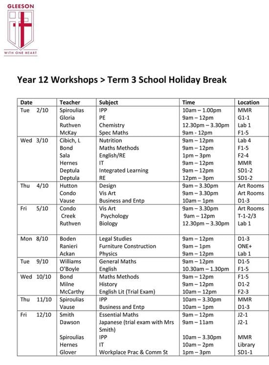 YEAR 12 WORKSHOPS > Term 3 School Holidays 2018