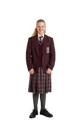 560864bc79d1 Maroon blazer, maroon Gleeson College jumper, summer dress (worn below the  knee, with the half belt fastened correctly), black leather-upper College  shoes, ...