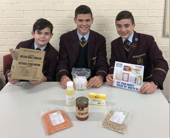 Oakhill College students taking the Ration Challenge