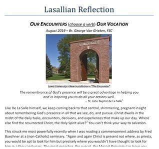 Lasallian Reflection for August 2019