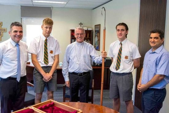La Salle College presents Archbishop Costelloe with new crosier