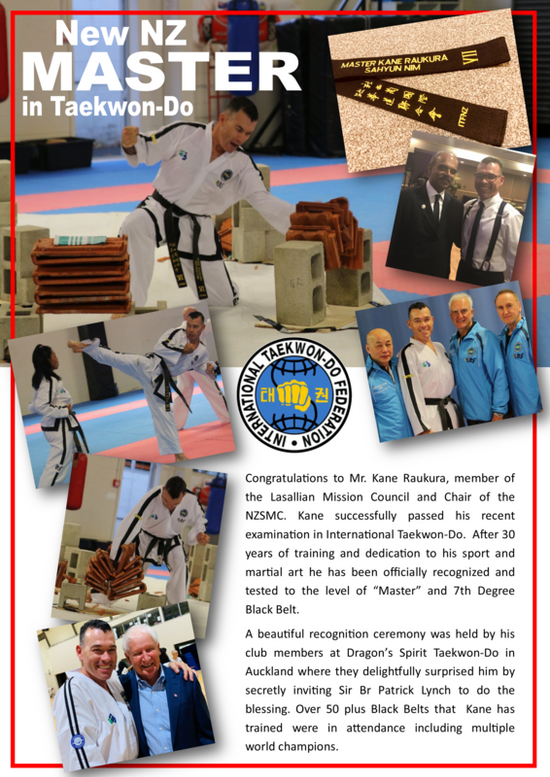Lasallian Kane Raukura has been awarded master's in international Taekwon-Do