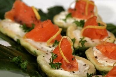 Bilinis with salmon