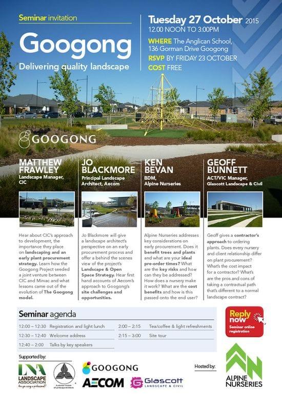 Seminar ~ Delivering Quality Landscape Googong Tuesday 27 October 2015 ~ Googong