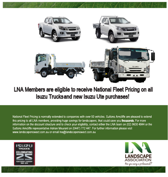 LNA Members are eligible to receive National Fleet Pricing on all new Isuzu Trucks and new Isuzu Ute purchases!