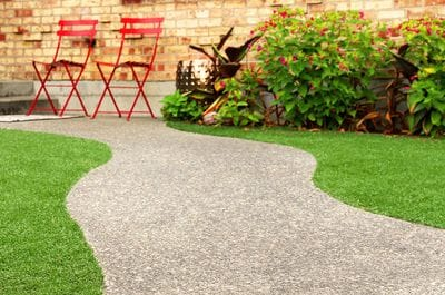 Landscaped lawn, garden and path